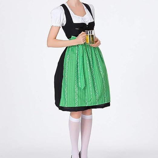 FRAUIT damski strÓj bawarski, sukienka Dirndl dla kobiet, dziewcząt, na Oktoberfest, Halloween, zestaw kwiatÓw, S-2XL: Odzież