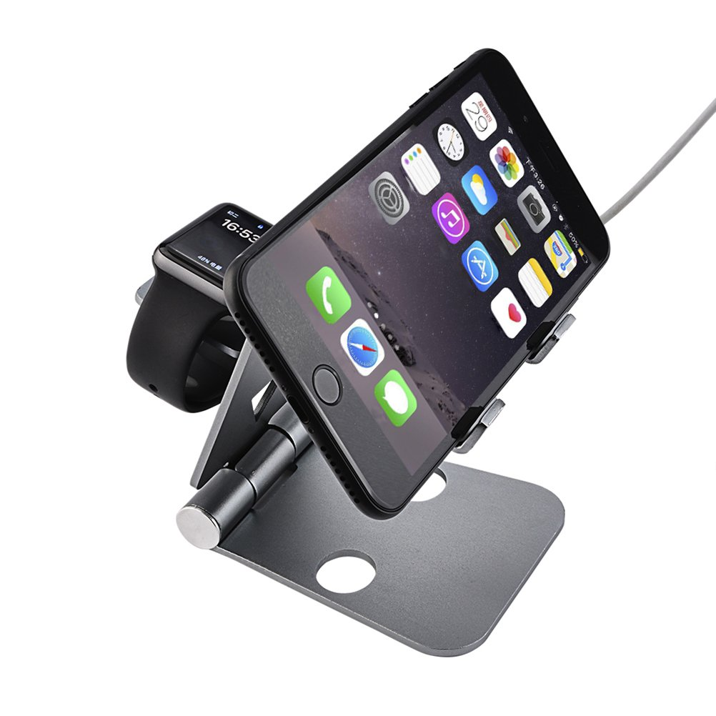 ROSENICE Phone Stand Watch Stand Tablet Holder Bracket for iPhone iPad iWatch(Black)