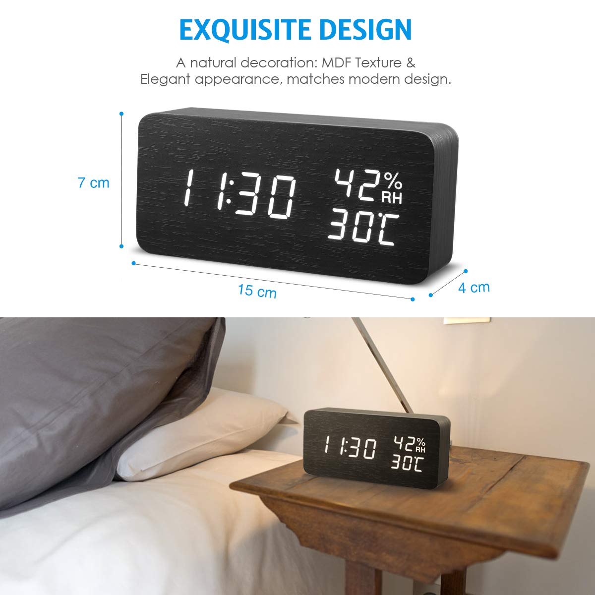 AMIR Alarm Clock, Wooden Digital Multi-Function Modern Cube LED Light, Smart Voice-Activated with 3 Alarm Sounds, Display Date Temperature & Humidity for Home, Kitchen, Bedroom (Black) by AMIR (Image #7)