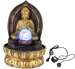 Fdit Classical Buddha Shape Desktop Fountain Unique Resin Home Table Ornament Decoration with Lighting Ball and Quiet Submersible Pump(110V US)
