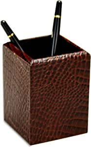 Dacasso Brown Crocodile Embossed Leather Pencil Cup