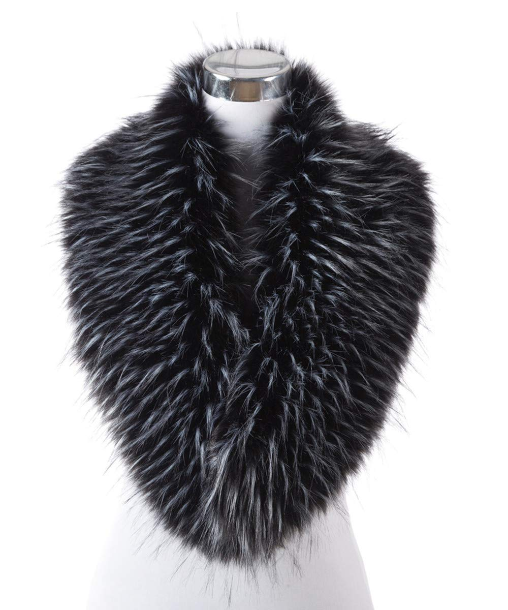 Lucky Leaf Women Winter Faux Fur Scarf Wrap Collar Shrug for Wedding Evening Party (Black mix White)