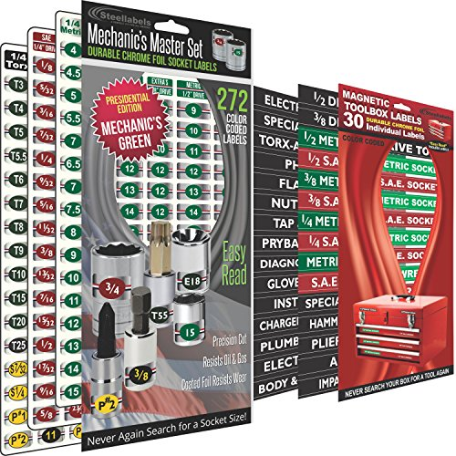 "Combo Deal - (Green Edition) Magnetic Toolbox Labels plus our best ""Master"" Set of Socket Labels (green series) for Metric, Torx & SAE tools, fits all Craftsman, Snap On, Mac Tools and Tool Chest by Steellabels"