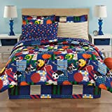 Boys Twin Sports Reversible Football Soccer 6 Piece Comforter Set Sheet Set Bed in a Bag Set
