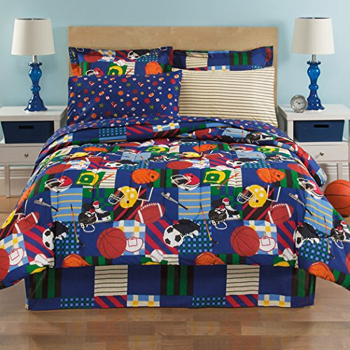 Boys Twin Sports Reversible Football Soccer 6 Piece Comforter Set Sheet Set Bed in a Bag Set by Royale Linens