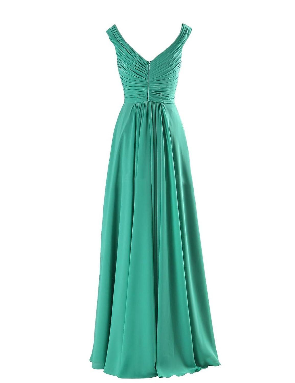 Amazon.com: Yougao Women\'s V Neck A-Line Chiffon Long Floor Length ...