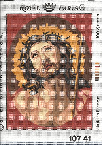 JESUS CROWN OF THORNS #2 NEEDLEPOINT CANVAS FROM ROYAL PARIS #107.41, NOT A KIT, CANVAS ONLY2 SMALL NEEDLEPOINT CANVAS - Royal Paris Needlepoint