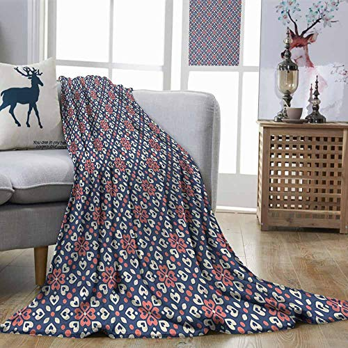 Living Room/Bedroom Warm Blanket Abstract Floral Hearts Forming Old Fashioned Mosaic Tiles Shabby Chic Pattern Night Blue Ivory Coral Print Summer Quilt Comforter W57 xL74