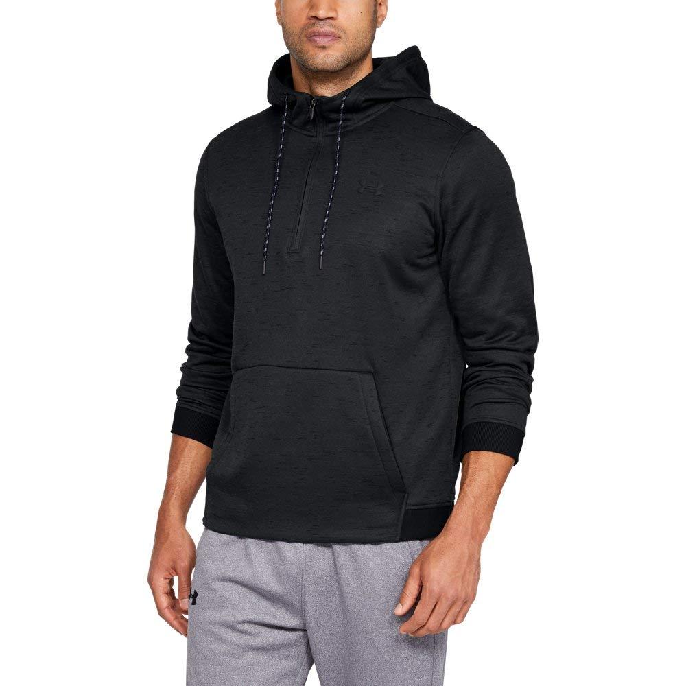 Under Armour Men's Armour Fleece 1/2 Zip Hoodie, Black (001)/Black, Medium