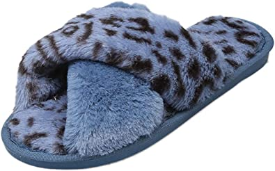 Winter Warm Indoor Women House Slippers Fashion Ladies Plush Leopard House Shoes