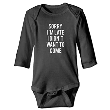 4e24fec2ed1b Amazon.com  Sorry I m Late I Didn t Want to Come Long Sleeve Baby Jumpsuit  Cute Toddler Summer Bodysuits  Clothing