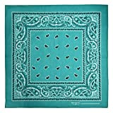 Bandana, 12 Pack 100% Cotton Bandanas for Women Men with Paisley, Flags & More (Cyan)
