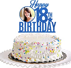 Dill-Dall Happy 18th Birthday Cake Topper, 18th Birthday Party Decor, Funny Eighteen Years Old Cake Topper, 18th Birthday Party Decorations (Royal Blue)