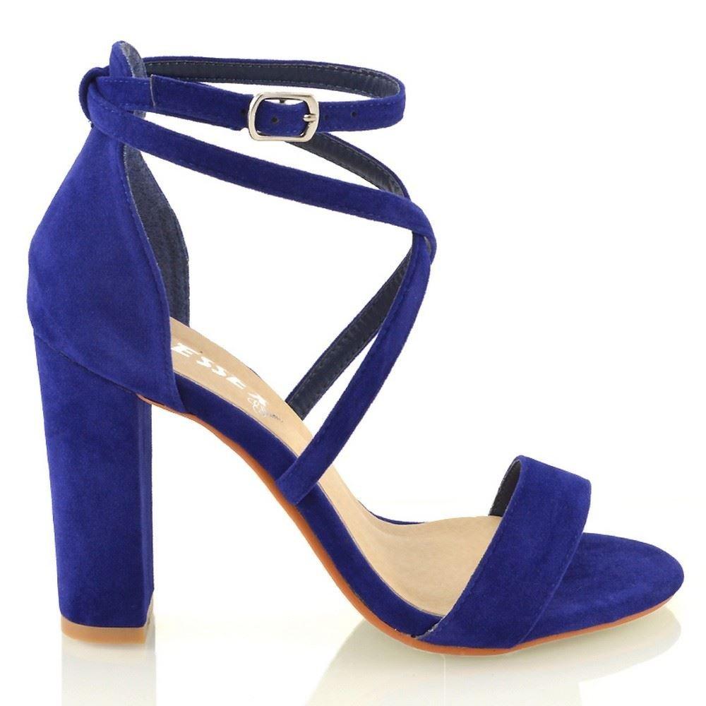 ESSEX GLAM Sandalo alla Donna Cinturino alla Sandalo Caviglia Tacco a Blocco Fibbia Festa Azzurro Finto Scamosciato 04c236