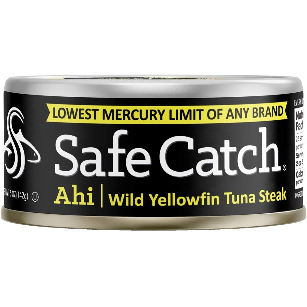 Safe Catch Ahi, Lowest Mercury Solid Wild Yellowfin Tuna Steak, 5 oz Can. The Only Brand to Test Every Tuna for Mercury (Pack of 6)