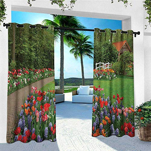 leinuoyi Garden, Outdoor Curtain Panels Set of 2, Spring Garden with Forest Hut Small Bridge Plants Flowerbeds and Walkway, for Gazebo W96 x L96 Inch Green and Purple
