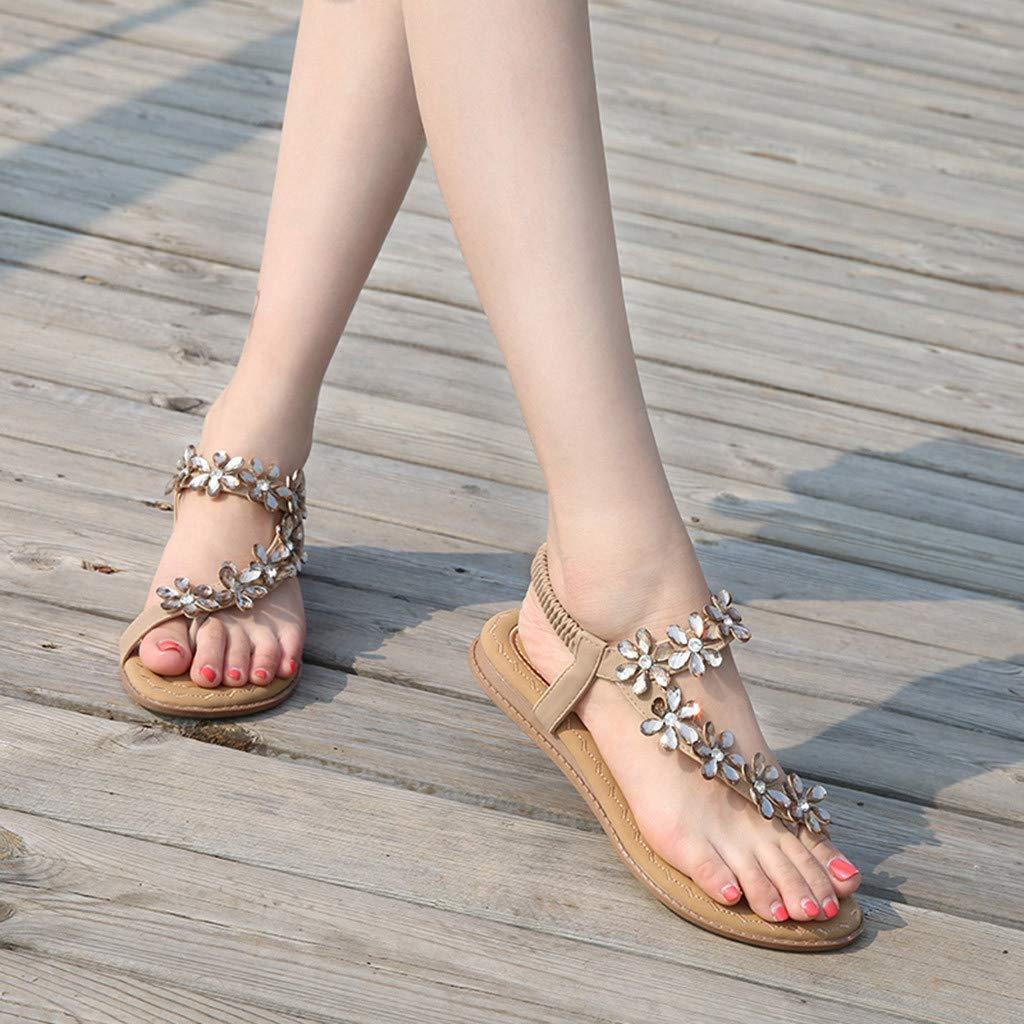 Womens Sweet Summer Bohemia Crystal Sandals Clip Toe Elastic Band Flat Sandals by Kaicran