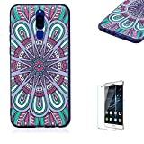 Funyye Relief Rubber Case for Huawei Mate 10 Lite,Stylish Mandala Pattern Soft Silicone TPU Gel Cover for Huawei Mate 10 Lite,Slim Fit Shockproof Non Slip Back Cover Smart Shell Protective Case for Huawei Mate 10 Lite + 1 x Free Screen Protector