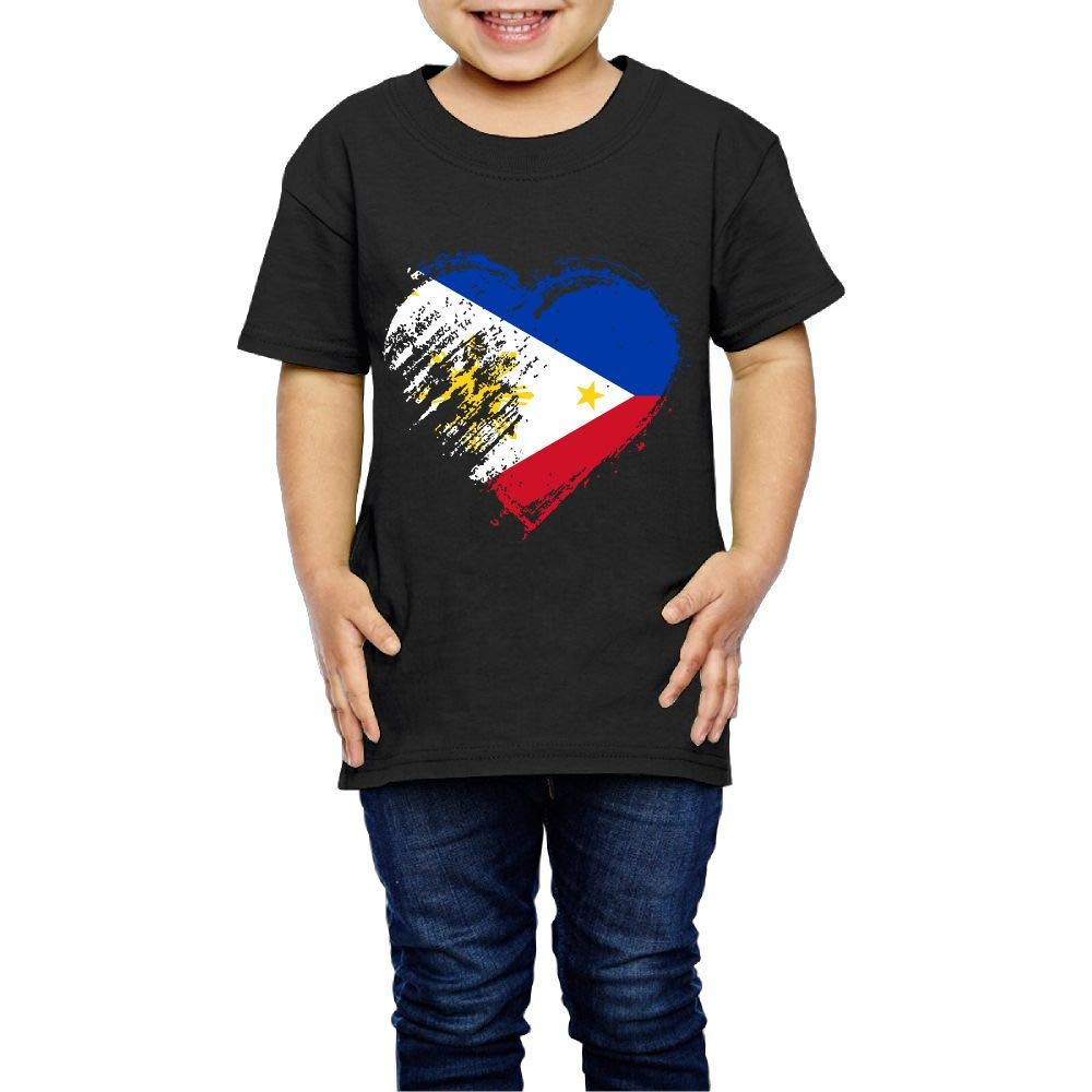 Grungy I Love Philippines Heart Flag 2-6 Years Old Children Short Sleeve Tee Shirts