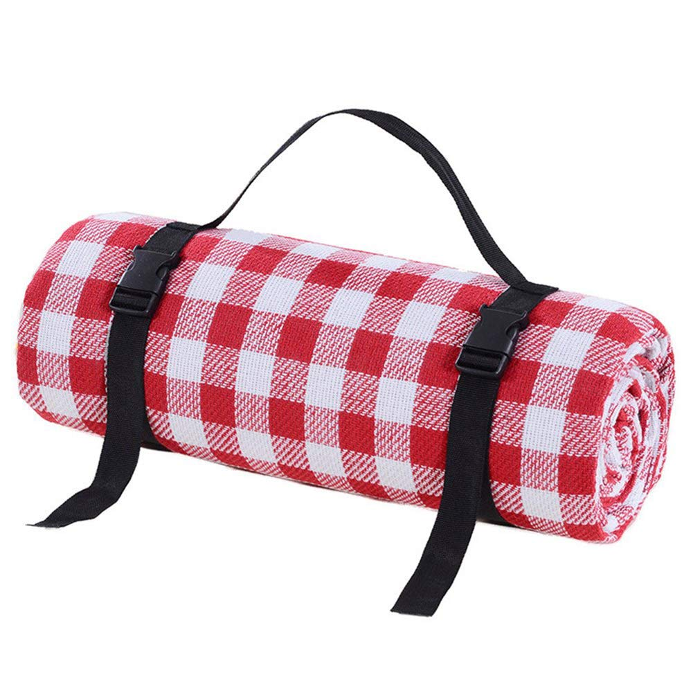 SHKY Picnic Blankets Outdoor Carpet Mat Red and White Grid - Waterproof Extra Large | Beach Blanket Sand,for Spring Travel, Camping, Hiking,300x300cm