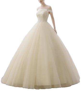 Kiss Rain Women\'s Off Shoulder Beaded Lce Lace Top Wedding Dresses ...