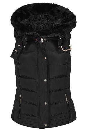 Womens Quilted Bodywarmer Coat Puffer Faux Fur Hooded Winter Vest Jacket Gilet_JKT139_Black_M