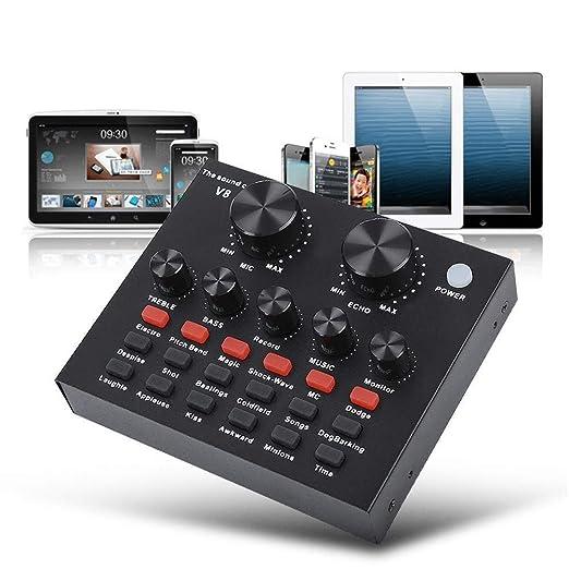 xiegons3 V8 Externo Tarjeta de Sonido, Audio Mixer USB ...