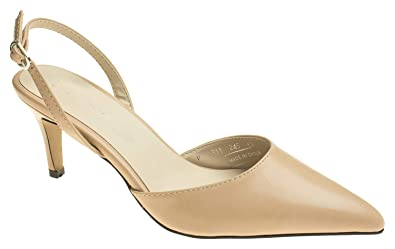 ea7f34a2ee2 AnnaKastle Womens Chic Pointy Toe Low Kitten Heel Slingback Pump