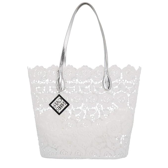 1c0ea2824b CAFéNOIR IBP961 borsa donna shopping bag in pizzo bianco: Amazon.it:  Abbigliamento