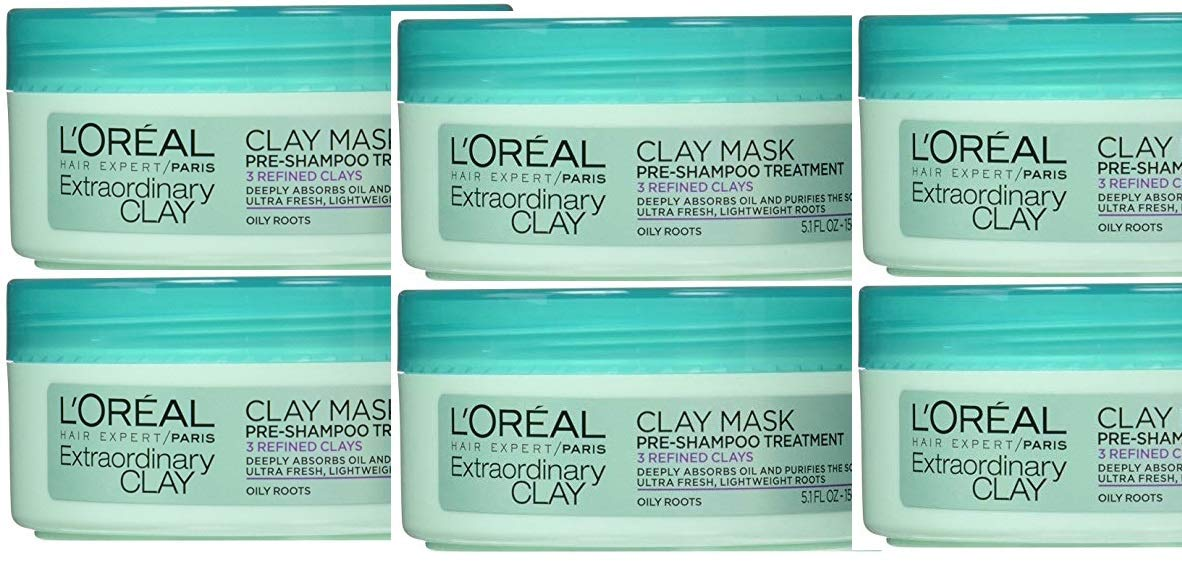 L'Ooréal Paris Hair Expert Extraordinary Clay Pre-Shampoo Mask, 5.1 Fluid Ounce (Pack of 6)