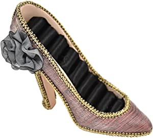 SandT Collection Glitzy Shoe Lovers Ring Organizer Display with Flower - Purple