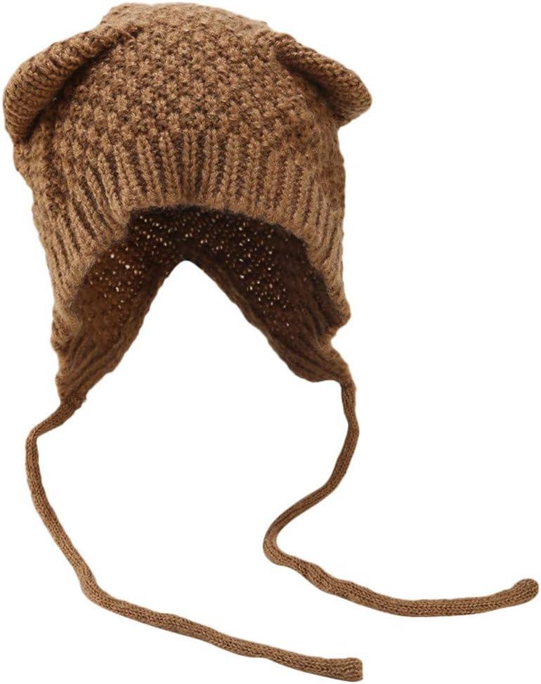 Viviplus ◕ᴗ◕ Women Knitted Hat Lady Bucket Knitt Hat Women Winter Warm Knit Hat Cat Ears Solid Drawstring Thicken Earmuff Cap