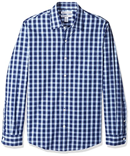 (Amazon Essentials Men's Slim-Fit Long-Sleeve Casual Poplin Shirt, Blue Plaid, Large )