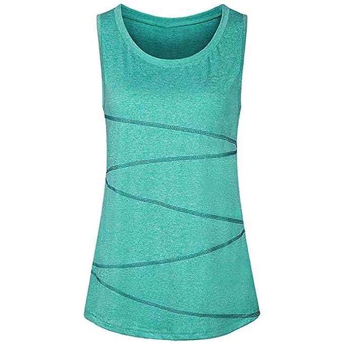 Sulifor Ropa de Yoga para Mujer,Ideal para Deporte Entrenamiento Chaleco de Verano de Playa,Camiseta sin Mangas Casual