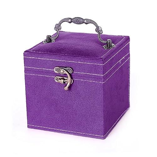 Ouken Caja de joyería de Navidad Caja de Regalo Princesa Europea Tres Capas de Madera Cajas de joyería portátil Cajas Decorativas Caja de Almacenamiento ...