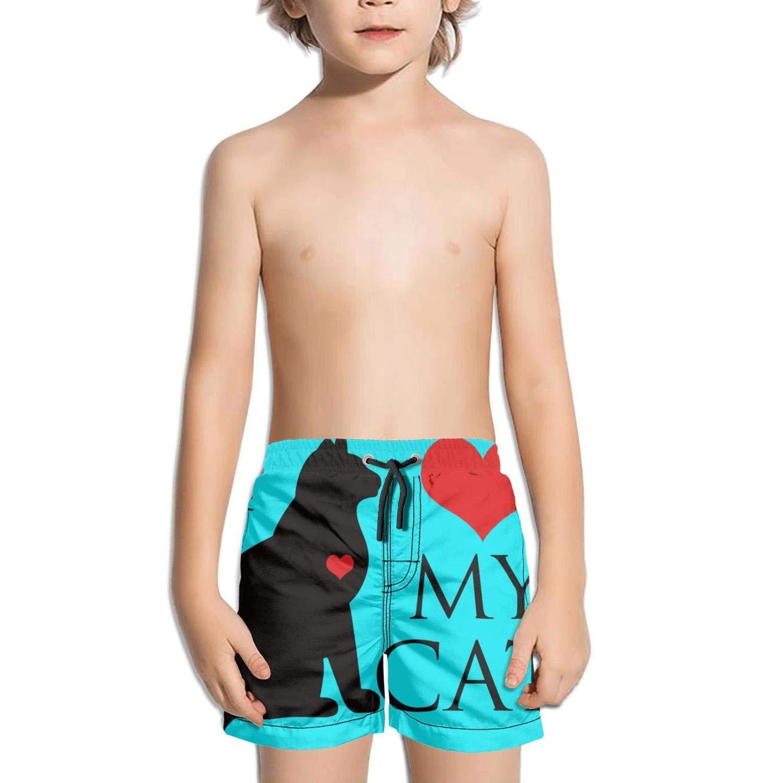 I Love Cats Design Boy Pocket Ultra Elastic Medium Length Swim Shorts