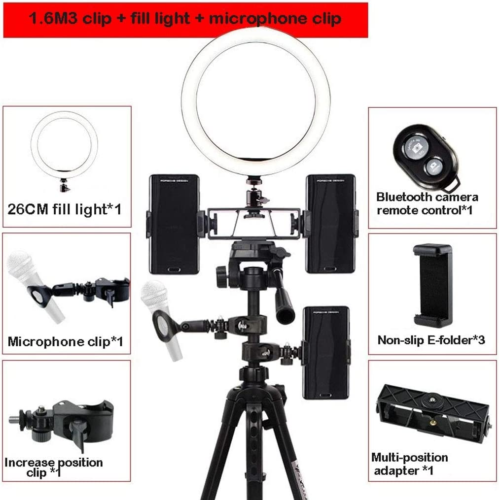 Flashes Color : B Microphone Clip Bluetooth Remote Control Optional DFYYQ LED Ring Light with Tripod USB Power Supply Phone Holder Fill Light