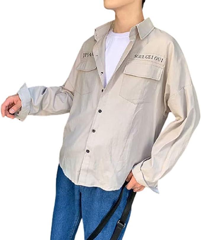 メンズ カジュアルシャツ 長袖ジャケット ゆったり ストリート 前開き 春夏秋 折り襟 開衿 韓国風 オーバーサイズ 気持ちいい 速乾 吸汗 通気 かっこいい 軽い ポケット付き 上着 彼氏 ギフト 作業 普段使い アウトドア