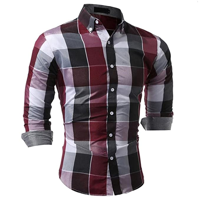 Amazon.com: OrchidAmor Mens Autumn Daily Tartan Super Swag Long Sleeved Pullover Fastener Sweatshirts Top Blouse: Clothing