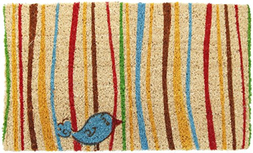 Rectangle Welcome Mat - Entryways Little Groovy Bird Handmade, Hand-Stenciled, All-Natural Coconut Fiber Coir Doormat 18