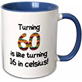 3dRose Mug 184962 6Turning 60 Is Like Turning 16 In Celsius Humorous 60Th Birthday Gift