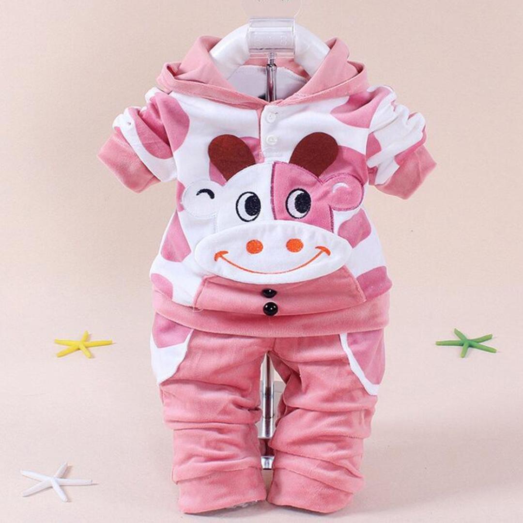 feiXIANG 1pc Cime Pantalone 1pc Neonata Bambina Ragazzi Mucca Cartoon Abiti Caldi Vestiti di Velluto con Cappuccio Set Top