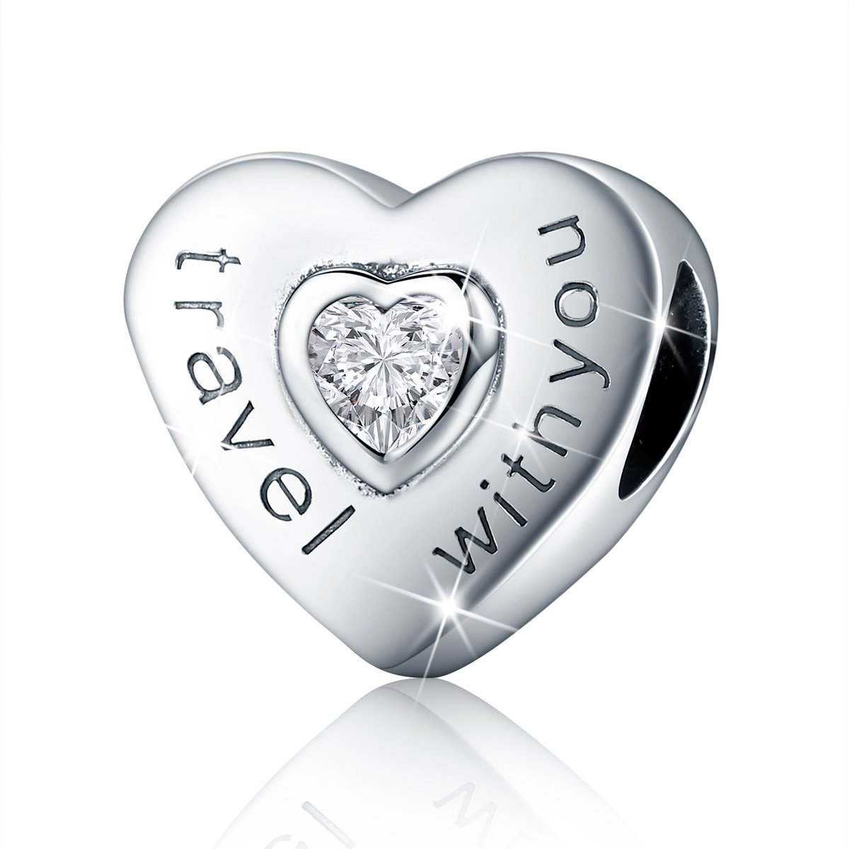 Bamoer Travel with You Sterling Silver Dazzling Heart Shape Charms Beads