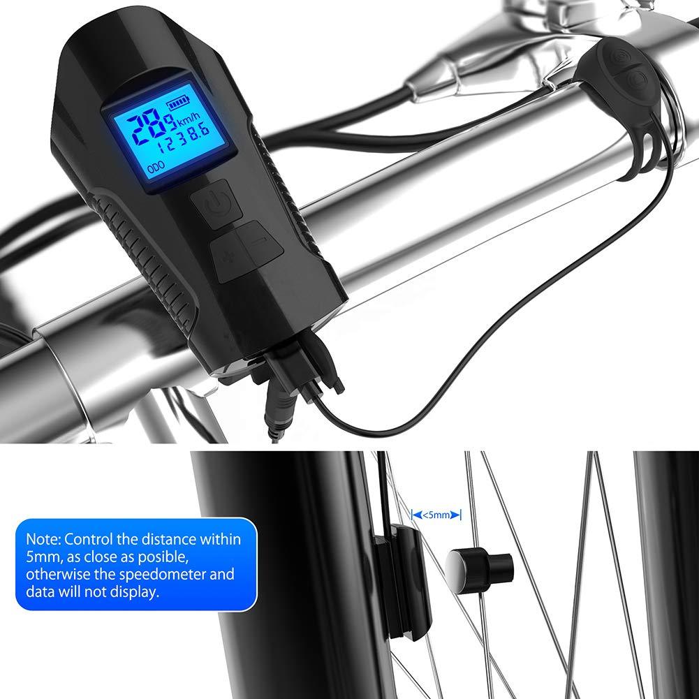 USB Rechargeable avec LCD /Écran Multifonctions /Éclairage V/élo /Électrique Corne de V/élo Ultra Puissante Avant Lumi/ère Wheel-hy Lampe V/élo LED Ordinateur de V/élo /Étanche