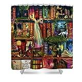 Pixels Shower Curtain (74'' x 71'') ''Treasure Hunt Book Shelf''