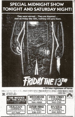 Friday the 13th Newspaper Ad Movie Poster (1980) 24x36 (Sign 13th Crystal Camp Lake)