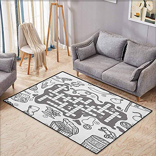 (Pet Rug,Word Search Puzzle,Colorless Pirates Themed Educational Puzzle Treasure Map and Icons,Large Area mat,4'7