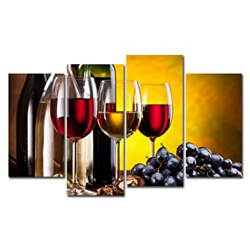 Amazoncom 4 Pieces Red Wine Canvas Prints Wall Art Wine Cups
