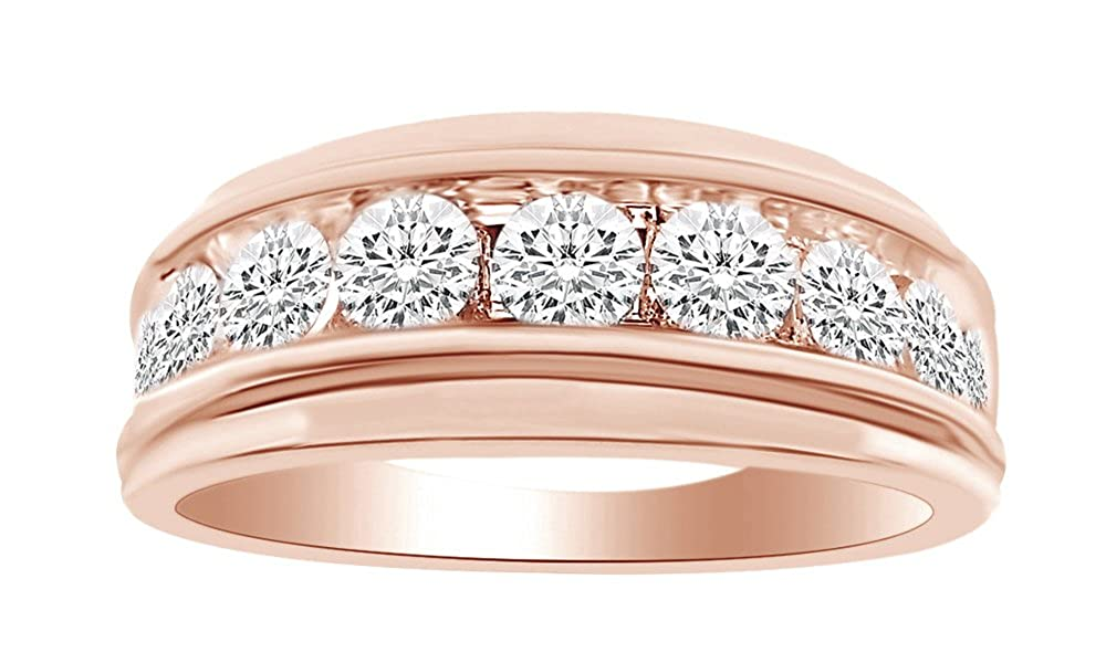 Anillo de boda de diamante natural blanco de forma redonda para ...
