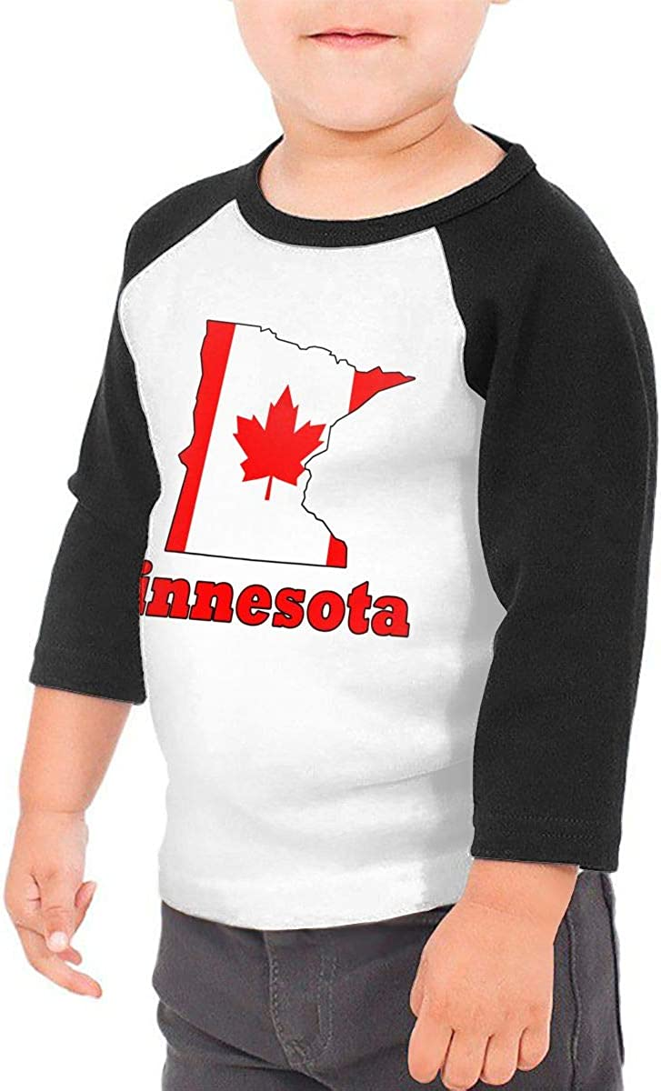 QPKMRTZTX0 Boys Girls Kids /& Toddler Canada Flag Minnesota Long Sleeve Tees 100/% Cotton